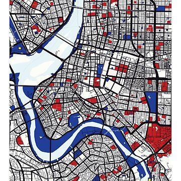 Taipei (Taiwán) Mapa x Piet Mondrian de franciscouto