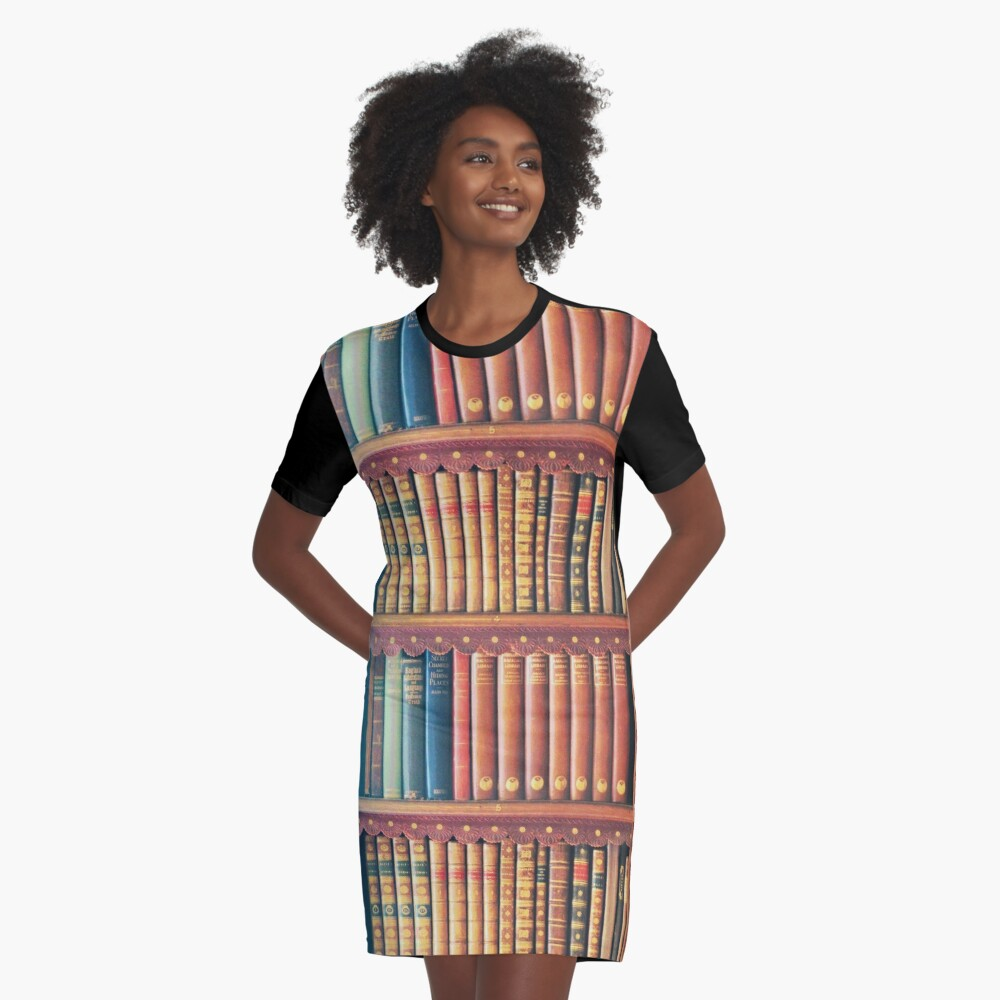 Library Graphic T-Shirt Dress