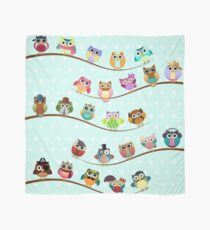 Cute Owls on Branch Scarf