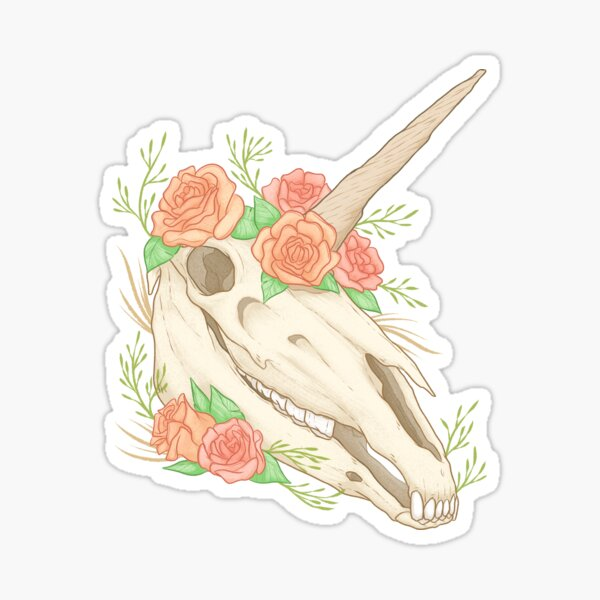 Boho Unicorn Skull Sticker