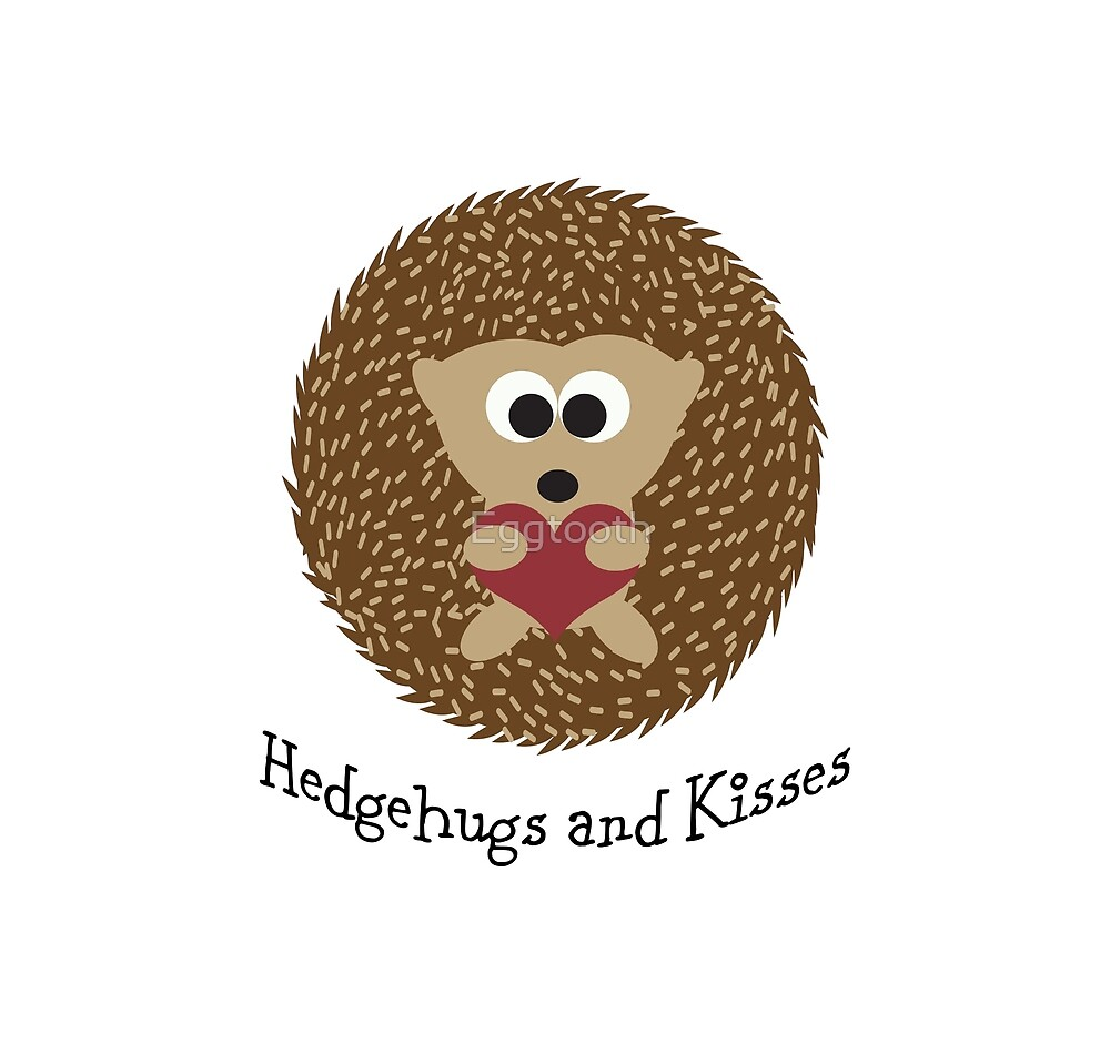 Hedgehugs and Kisses Cute Hedgehog Hugging a Heart by Eggtooth
