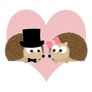 Handsome Hedgehog Couple with a Heart Background by Eggtooth