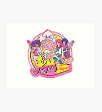 Distressed looking Jem and the Holograms 80s cartoon  Art Print