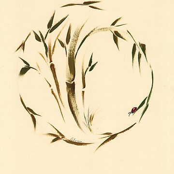 Lovely Little Ladybug - Sumie enso bamboo painting by tranquilwaters