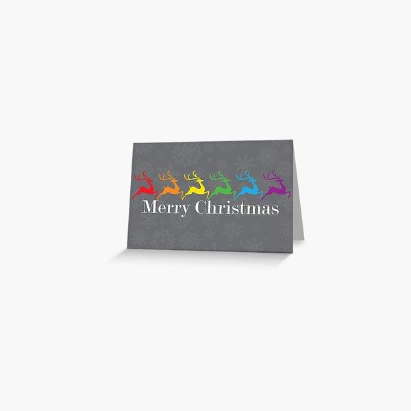 Gay Christmas Deers 1 Greeting Card