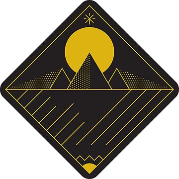 Pyramid / Mountains Linework - Yellow on Black by bl0r