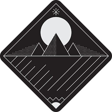Pyramid / Mountains Linework - Light Grey on Black by bl0r
