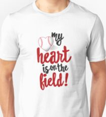 My Heart Is On The Field Baseball T-Shirt Tee-Ball Mom Dad Slim Fit T-Shirt