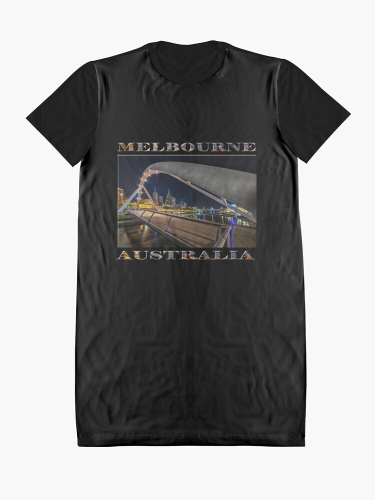 Alternate view of Southgate Bridge At Night (poster edition on black) Graphic T-Shirt Dress