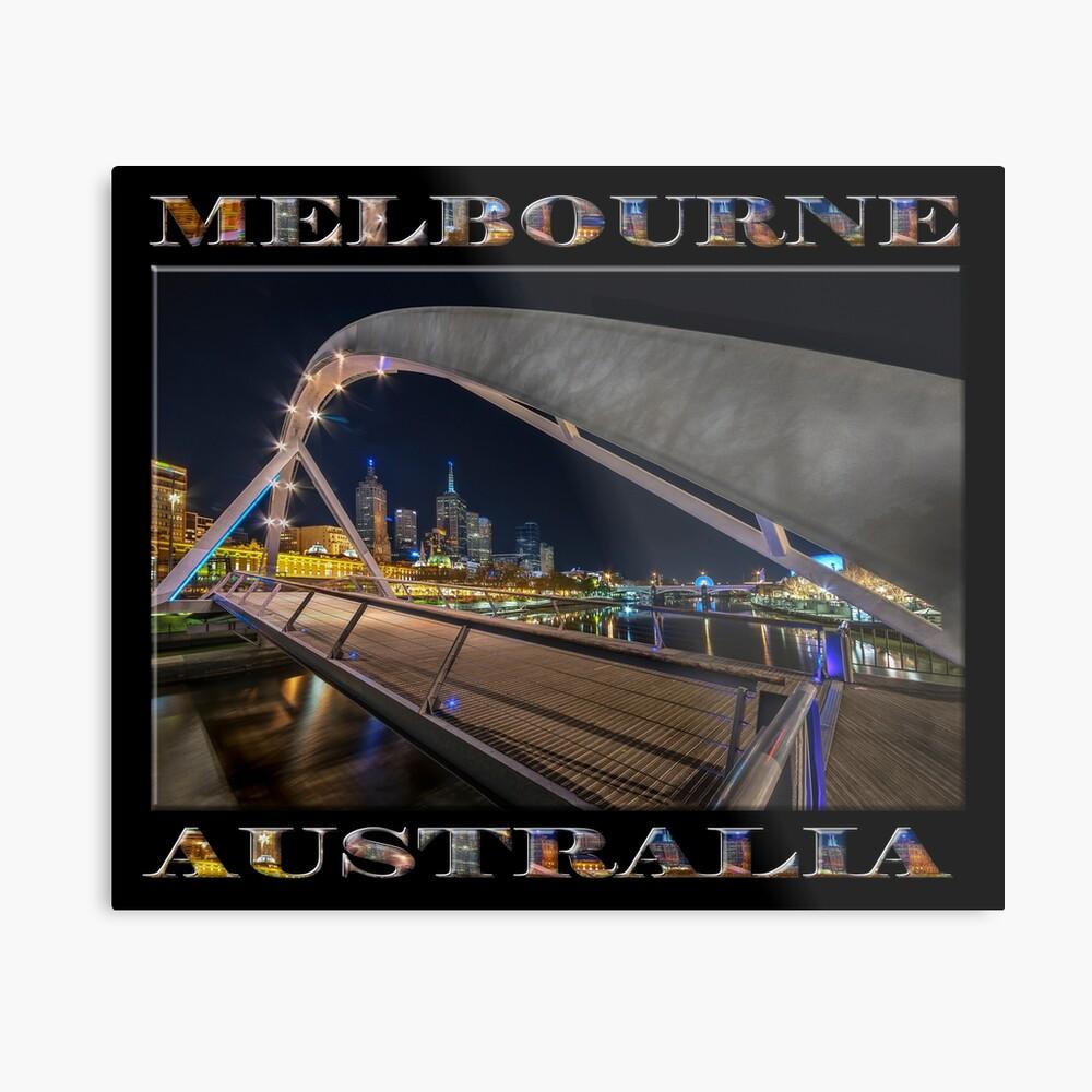 Southgate Bridge At Night (poster edition on black) Metal Print