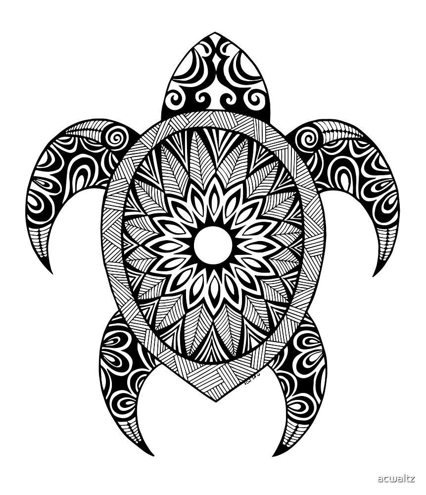 tribal sea turtle by acwaltz