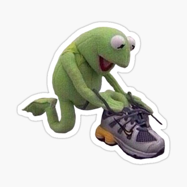 kermit tying up those shoes Sticker