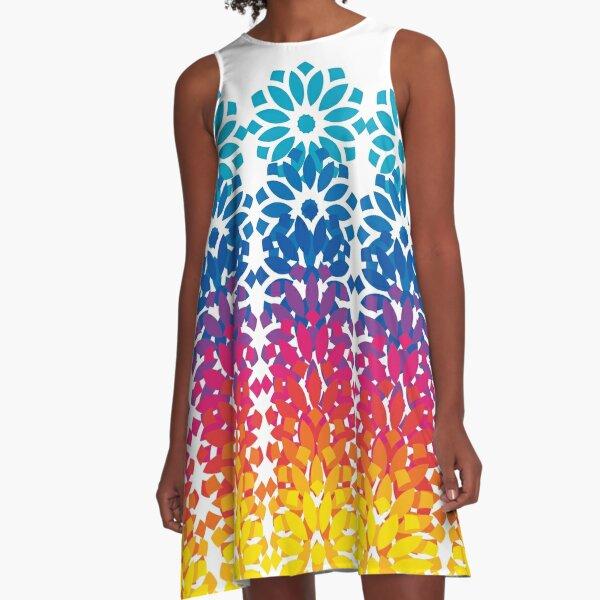 Rainbow Lotus A-Line Dress
