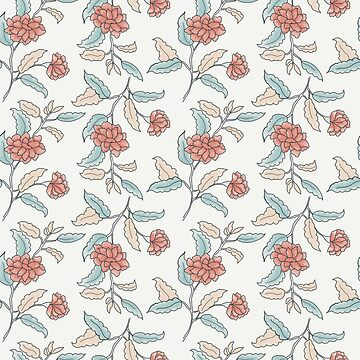 Small apricot ditsy trailing floral on cream by Pattern-Design