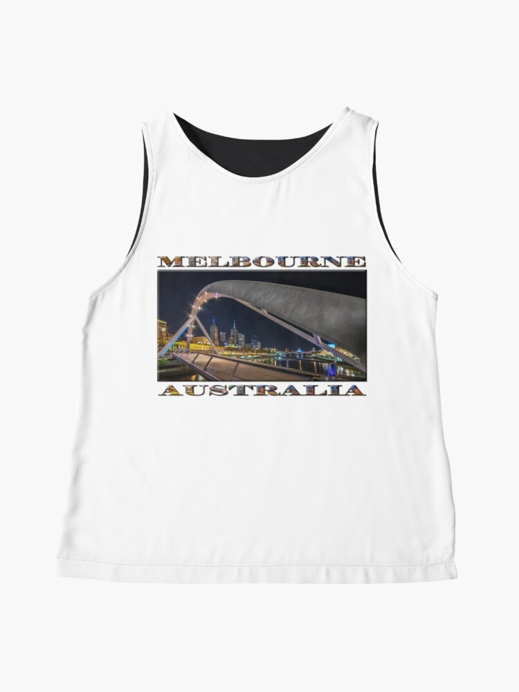 Alternate view of Southgate Bridge At Night (wide poster edition on white) Sleeveless Top