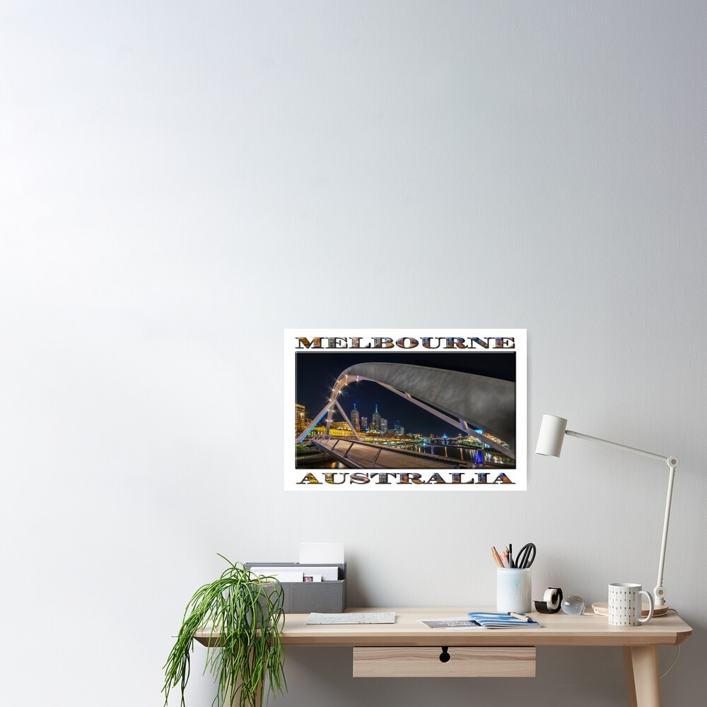 Southgate Bridge At Night (wide poster edition on white) Poster