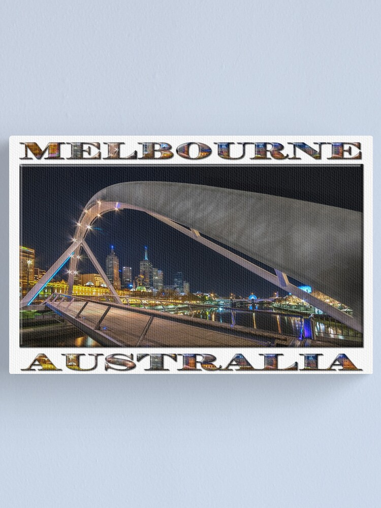 Alternate view of Southgate Bridge At Night (wide poster edition on white) Canvas Print