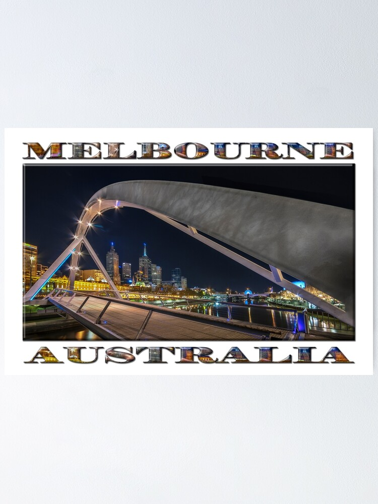 Alternate view of Southgate Bridge At Night (wide poster edition on white) Poster