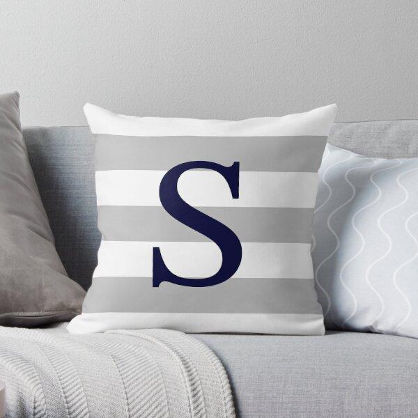 Silver Gray Stripes Navy Blue Monogram S Throw Pillow