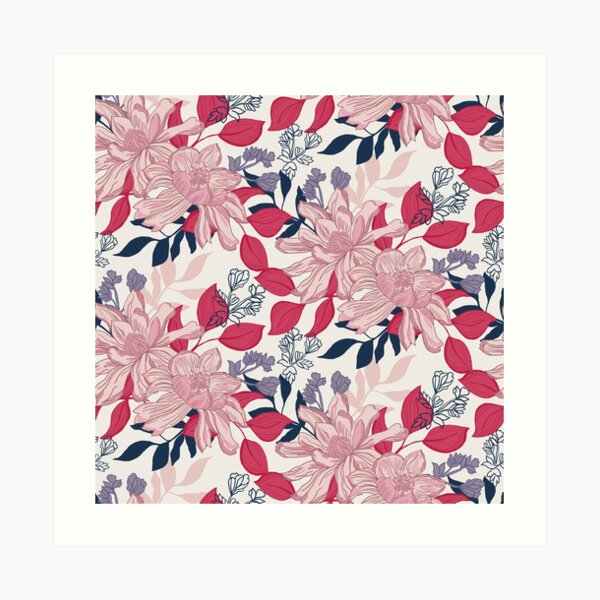Pretty, detailed, hand drawn floral in pink and blue Art Print