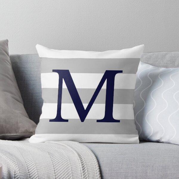 Silver Gray Stripes Navy Blue Monogram M Throw Pillow