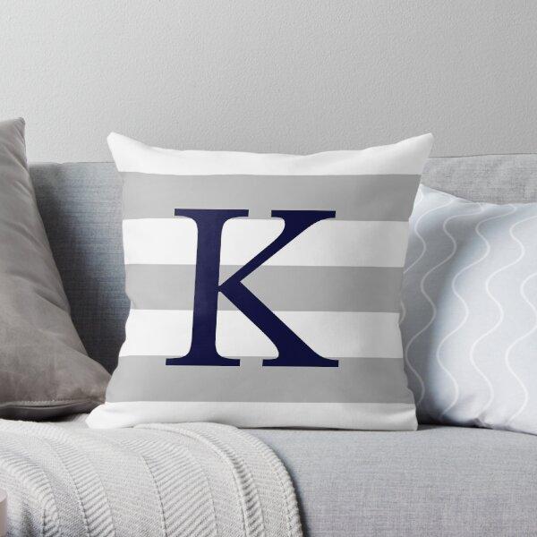 Silver Gray Stripes Navy Blue Monogram K Throw Pillow