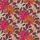 Detailed, hand drawn floral in brown, pink and orange by Pattern-Design