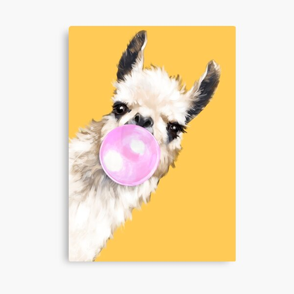 Bubble Gum Sneaky Llama en amarillo mostaza Lienzo