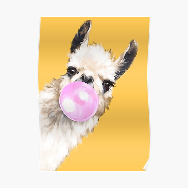 Bubble Gum Sneaky Llama in Mustard Yellow Poster