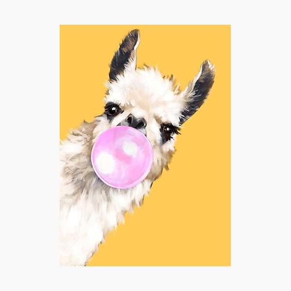 Bubble Gum Sneaky Llama in Mustard Yellow Photographic Print