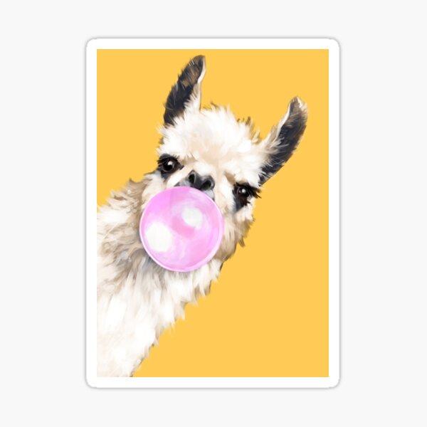 Bubble Gum Sneaky Llama in Mustard Yellow Sticker