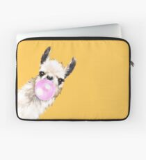 Bubble Gum Sneaky Llama in Mustard Yellow Laptop Sleeve