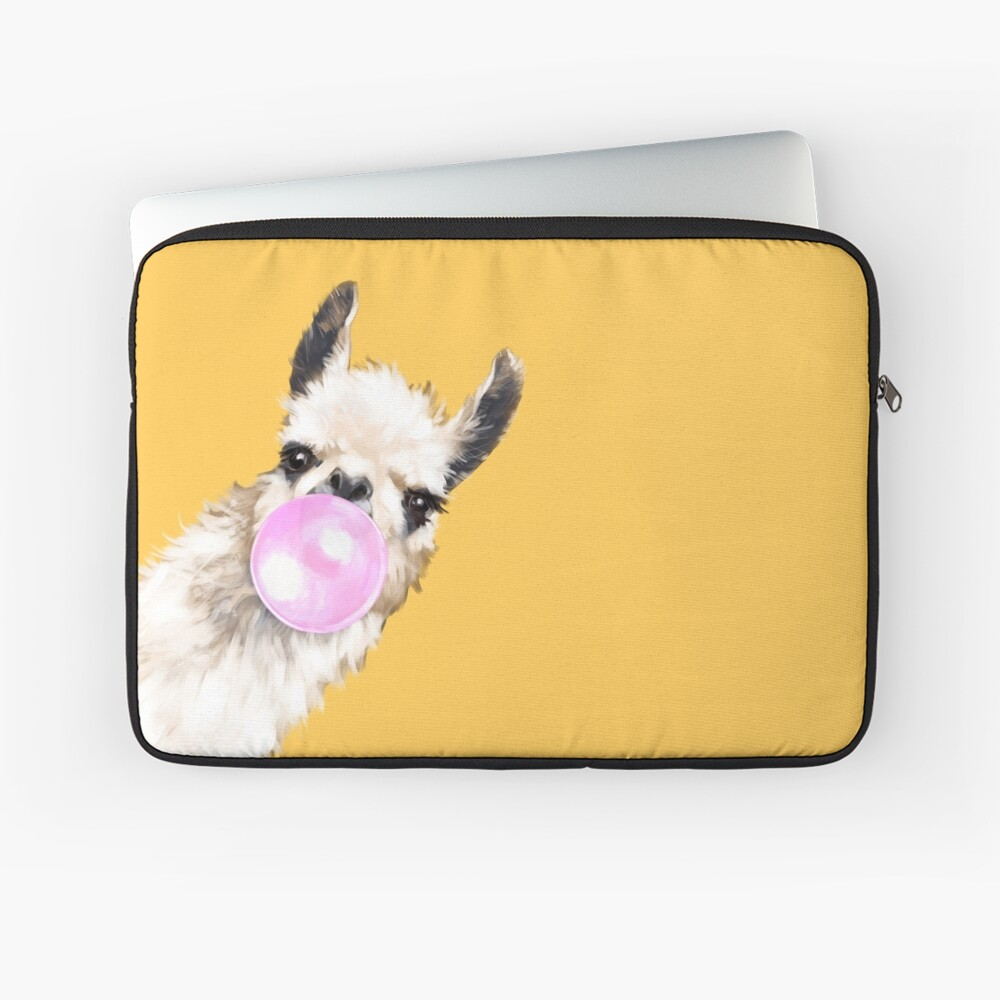 Bubble Gum Sneaky Llama in Mustard Yellow Laptop Sleeve