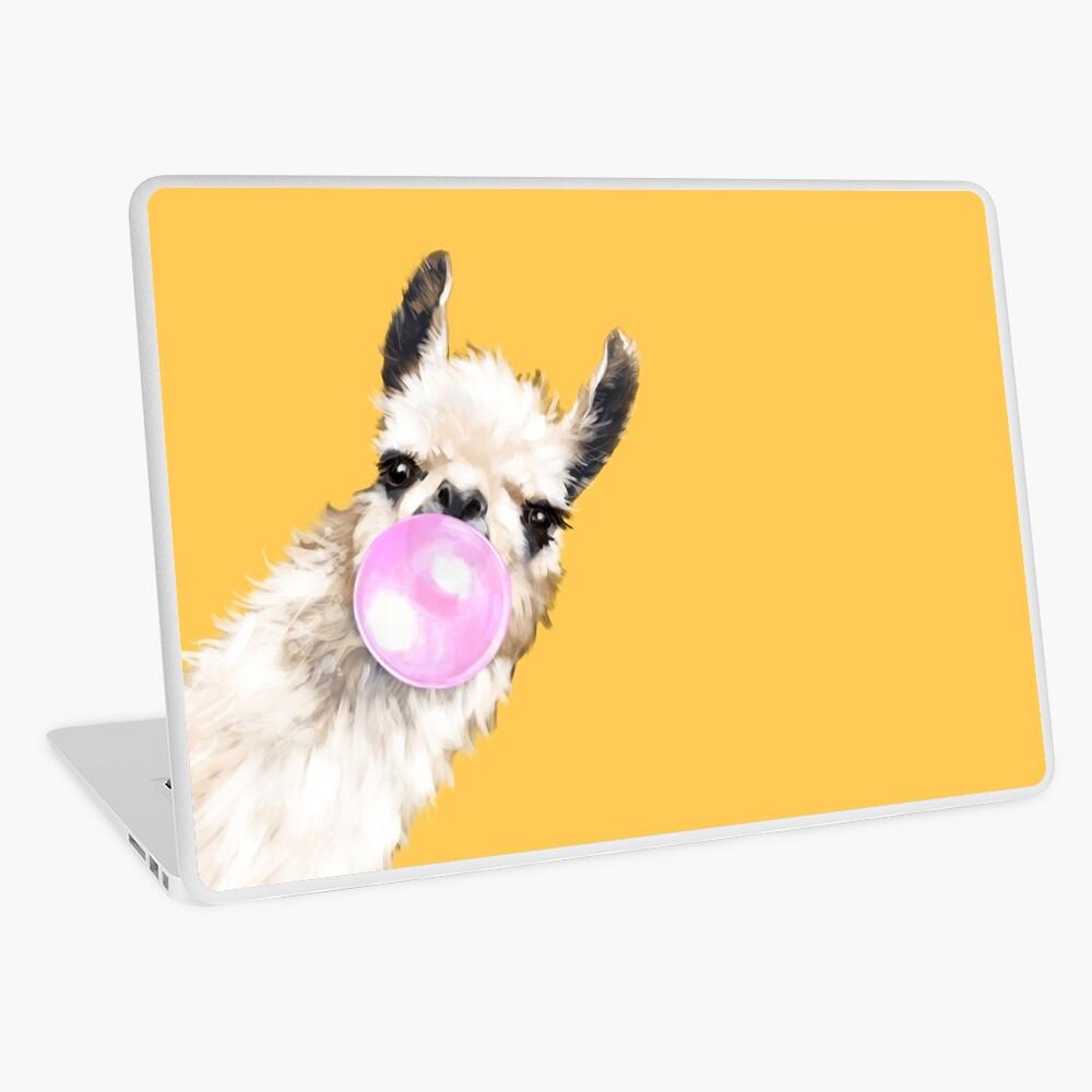 Bubble Gum Sneaky Llama in Mustard Yellow Laptop Skin
