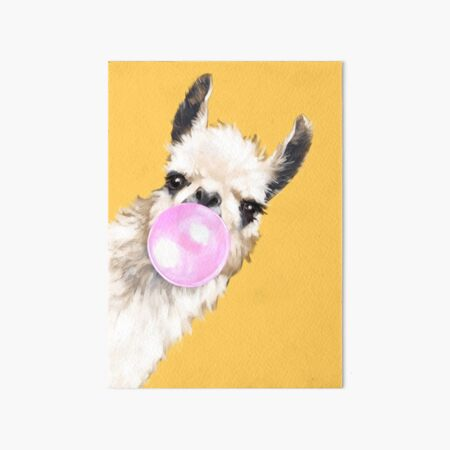 Bubble Gum Sneaky Llama in Mustard Yellow Art Board Print