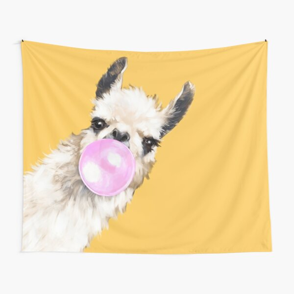 Bubble Gum Sneaky Llama in Mustard Yellow Tapestry