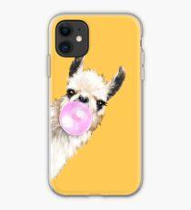 Bubble Gum Sneaky Llama in Mustard Yellow iPhone Case
