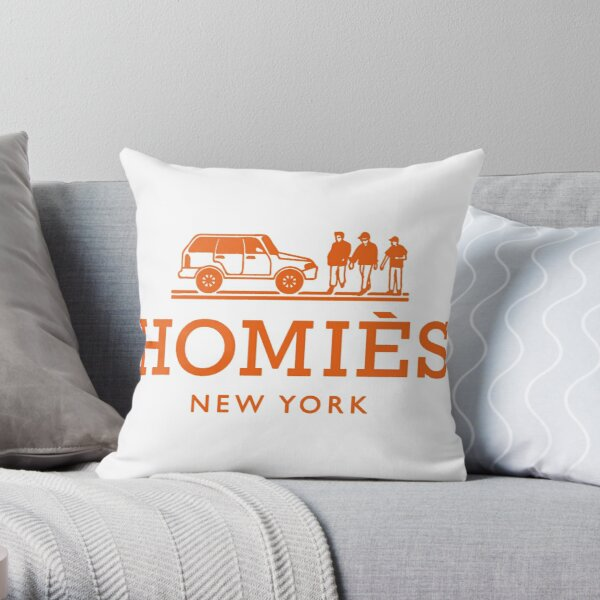 Logotipo de color naranja de Homies New York Cojín