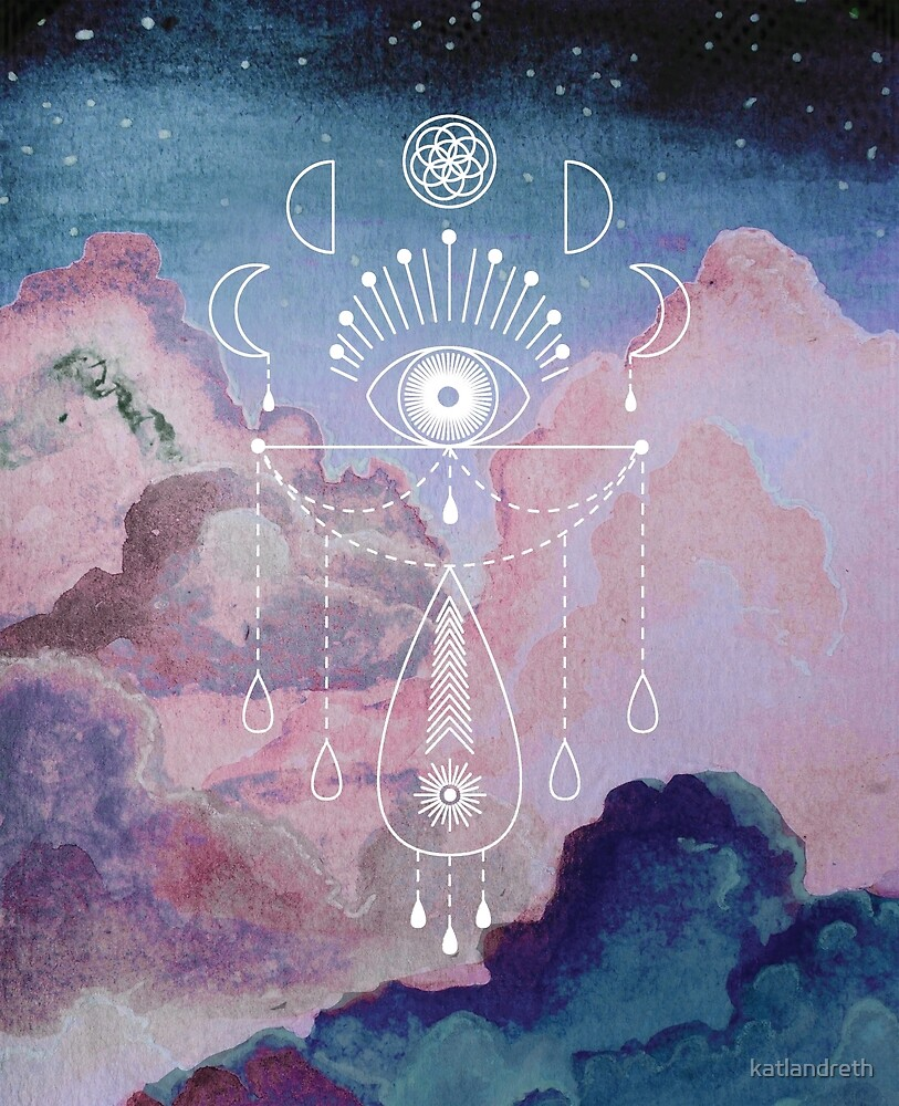 Magic Totem on Night Sky with Pink Clouds by katlandreth