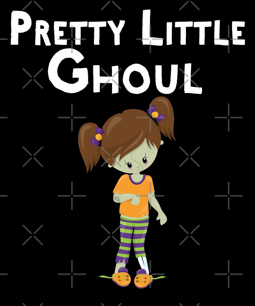 Pretty Little Ghoul Funny Halloween Zombie Girl Brown Hair Design by SpiritWestDesig
