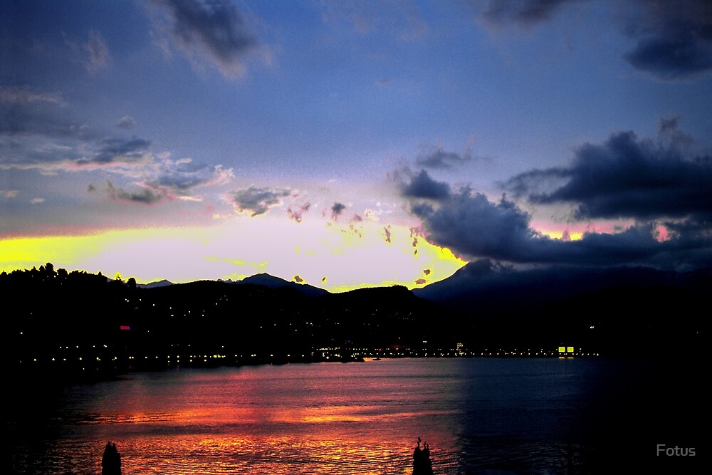 Como lake sunset by Ina Vaitkeviciene