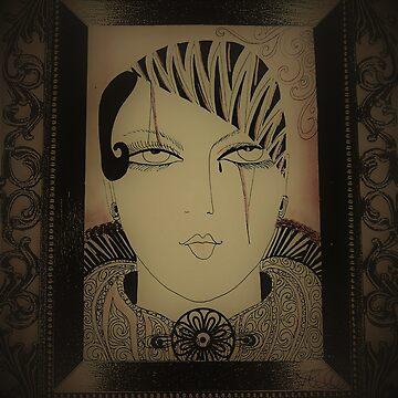 ART DECO PIERROT GIRL IN FRAME by jacquline8689