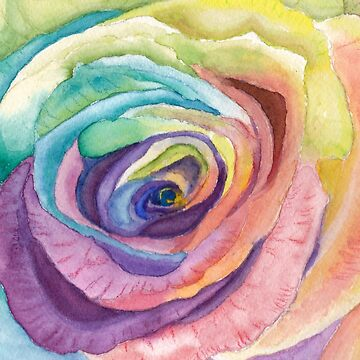 Rainbow Rose Print by Lallinda