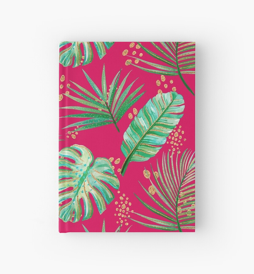 Red Pink Green Tropical Palm Fronds Print Pattern by jmac111