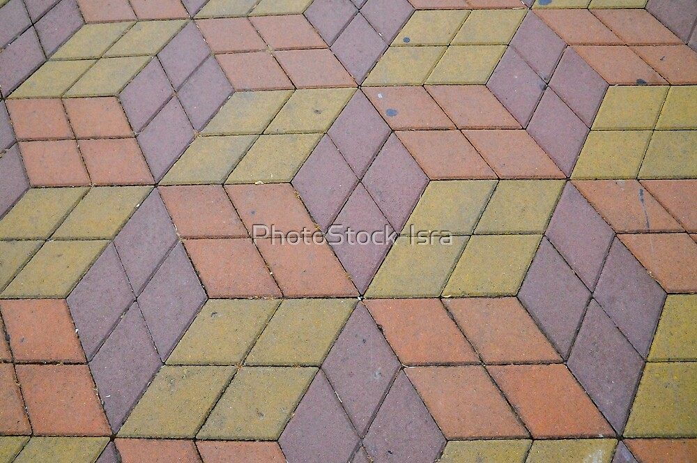 Abstract 3D shapes paved a footpath in Batumi, Georgia  by PhotoStock-Isra