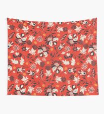 Victorian floral | red Wall Tapestry