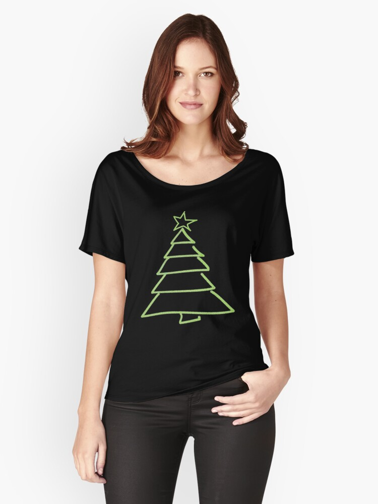 Christmas tree simple drawing Women's Relaxed Fit T-Shirt Front