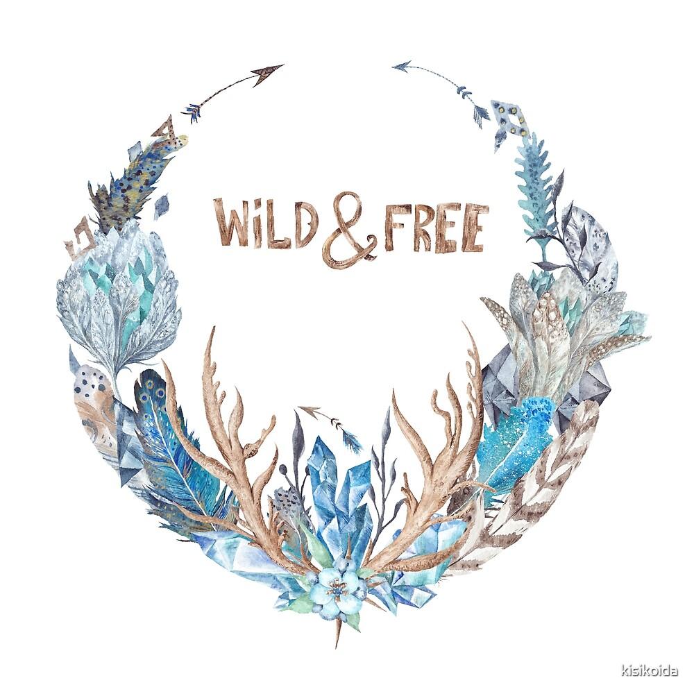 Wild and Free Boho Wreath Watercolor Illustration by kisikoida