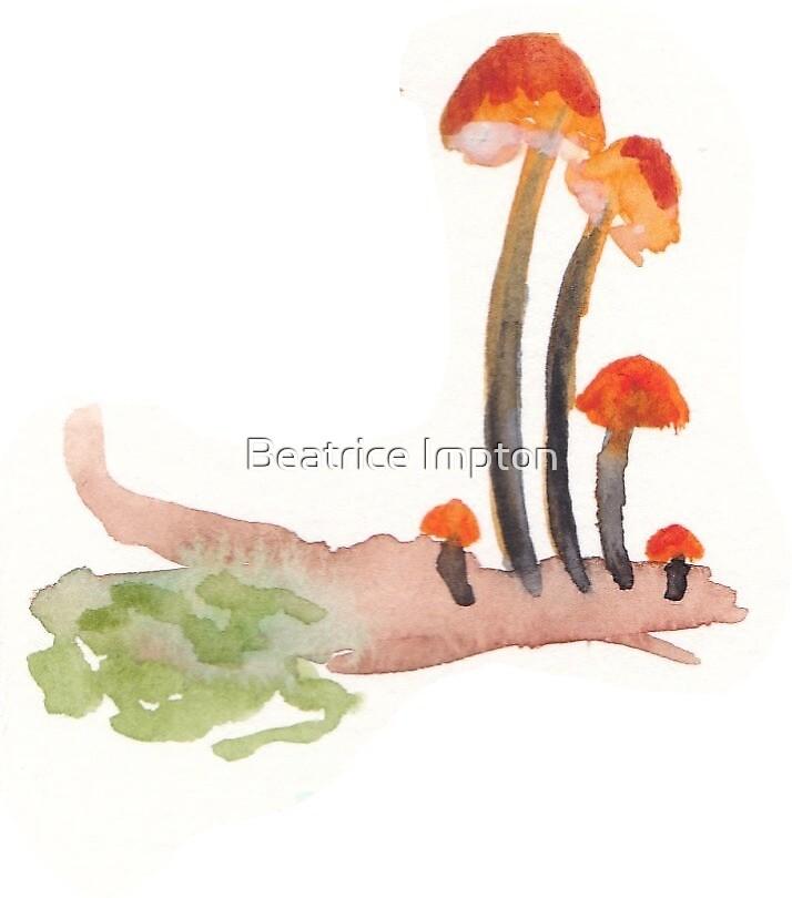 tiny orange shrooms by Beatrice Impton