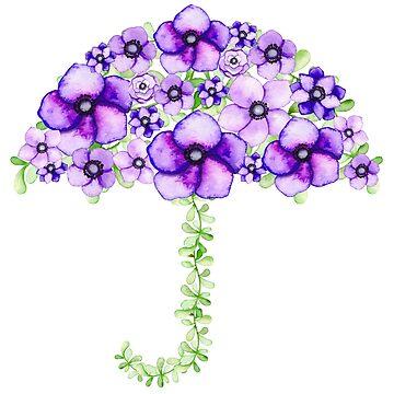 Purple Flower Umbrella by CeeGunn